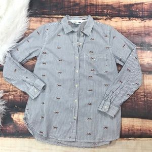 Fox Striped Button Down Blouse The Classic Shirt